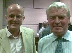 """Me with Paddy at the launch of his memoir """"A fortunate life"""""""