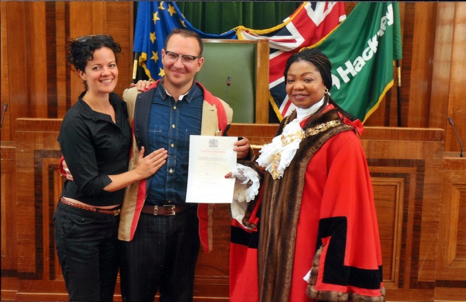 Alice, me and the Speaker of Hackney Council, Citizenship Ceremony, Hackney Town Hall, Hackney, London, UK.tif